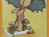 Cartoon Umbrella Drawing Images Mabel Lucie attwell Vintage Card Art toddler Girl Dog Swimming Ocean