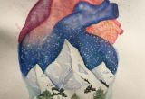 Chance Of Drawing A Heart Anatomical Heart and Winter Mountain Landscape Watercolor Painting