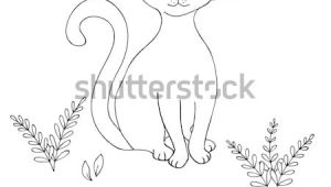 Contour Drawing Of A Cat Vector Black White Contour Simple Sketch Stock Vector Royalty Free