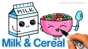 Cute Easy Food Drawings How to Draw Milk and Cereal Step by Step Cute and Easy