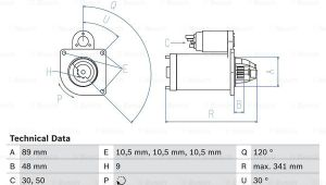 Drawing 4.0 Mercedes 711 T2 4 0d Starter Motor 86 to 94 Bosch A0031518601