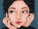 Drawing A Black Eye Anime Manga Portrait Girl Cute Drawing Black Eyes Hair