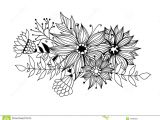 Drawing A Bouquet Of Flowers Doodle Bouquet Od Flowers and Leaves Stock Illustration