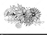 Drawing A Bouquet Of Flowers Doodle Bouquet Od Flowers and Leaves Stock Vector A C Katerinamk