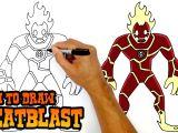 Drawing A Cartoon Cricket How to Draw Heatblast Ben 10 Youtube