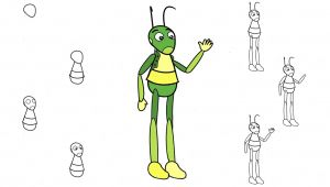 Drawing A Cartoon Grasshopper How to Draw A Grasshopper Kuzya From the Cartoon Luntik In Stages