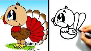 Drawing A Cartoon Turkey Great for Thanksgiving Cute Lil Turkey Mei Yu Fun 2 Draw Youtube