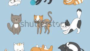 Drawing A Cute Kitten Hand Drawing Cute Cats Vector Kitty Stock Vektorgrafik Lizenzfrei
