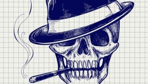 Drawing A Skull In Illustrator Sketch Of Gangster Skull Vector with Hat and Cigarette Download A