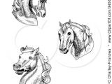 Drawing Cartoon Horse Head Clipart Illustration Of A Set Of Three Black and White Horse Heads
