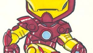 Drawing Cartoon Iron Man the Movie Version Of Shellhead Also On Ebay This Week 5 5x7in