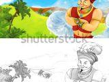 Drawing Cartoon Landscapes Cartoon Scene Happy King Od Prince Stock Illustration Royalty Free