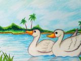 Drawing Cartoon Landscapes How to Draw Easy Scenery with Duck Step by Step Easy Draw Youtube