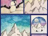 Drawing Cartoon Mountains Art Room Britt Jen Aranyi Mountain Scape Mixed Media Illustrations