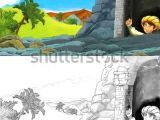 Drawing Cartoon Mountains Cartoon Scene Happy King Od Prince Stock Illustration 1017491254