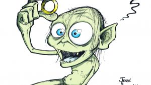Drawing Cartoon Ring Smeagol the Lord Of the Rings the Hobbit Jesse Alves Cartoon Pins