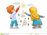 Drawing Cartoon with Illustrator Muslim Girls and Boy Draw Landscapes On the Walls Stock Vector