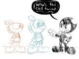 Drawing Cartoons 2 Bendy Cuphead Points to His Bro the Blue One Him Bendy A T I M