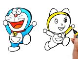 Drawing Cartoons Doraemon Draw Color Paint Doraemon and Dorami Coloring Pages and Learn Colors