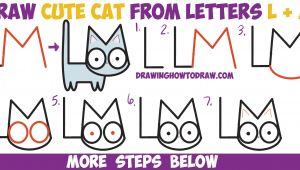 Drawing Cartoons Letter by Letter How to Draw A Cute Cartoon Kitten From Letters L M Easy Step by