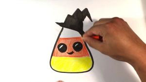 Drawing Cute Candy How to Draw Cute Candy Corn Hat Version Halloween Drawings