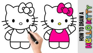 Drawing Cute Hello Kitty How to Draw A Hello Kitty A Easy Pictures to Draw Step by Step