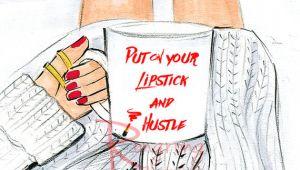Drawing Cute Lipstick Fashionista Wall Art Fashion Print Fashion Illustration Chic Wall