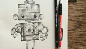 Drawing Cute Robot Cute Robot Graphite Pencil Drawing Art Class In 2019 Pinterest
