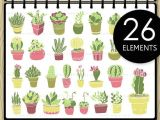 Drawing Cute Succulents Potted Succulent Hand Drawn Clip Art Cactus Digital by Nedti Etsy