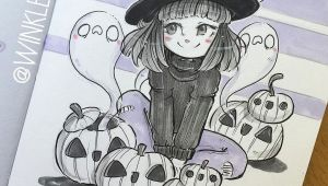 Drawing Cute Witch Cute Witch with Jack O Lanterns and Ghosts Ink Minimal Color