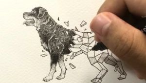 Drawing Dog Tattoo Geometric Beasts Rottweiler Inking Process Coloring Pinterest