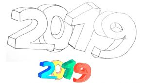 Drawing Easy 2019 How to Draw 2019 In 3d Easy and Simple 2019 3d 3ddrawings