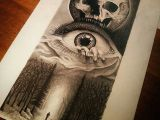 Drawing Eye Skull Creepy forest Tattoo Idea Man In the forest with Creepy Eye and