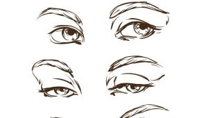 Drawing Eyes In Illustrator Hand Drawn Womens Eyes Vintage Royalty Free Vector Image