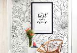 Drawing Flowers for Wall Botanical Garden Hand Drawn Flowers Mural Wall Art Wallpaper Peel