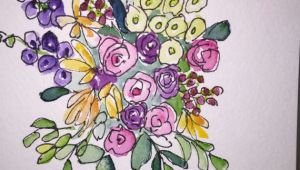Drawing Flowers On Cards Flowers Water Card Hand Painted Watercolor Card This Card is An