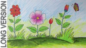 Drawing Flowers Tutorial Youtube How to Draw A Scenery with Flowers for Kids Long Version Youtube