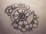 Drawing Flowers with A Compass Tattoo Compass with Flowers Tattoo Tatuajes Tatuajes