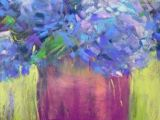 Drawing Flowers with soft Pastels Hydrangeas Pastel Painting 8×10 original Art Painting by Karen