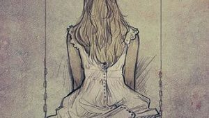 Drawing Girl On Swing Artist Charlie Bowater Pen and Ink 4