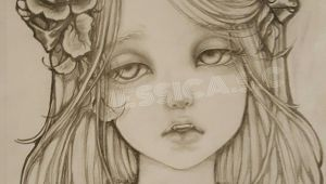 Drawing Girl with Flowers In Hair Pencil Drawingoftheday Beautiful Vampire Girl Dramatic Eyes