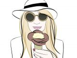 Drawing Girl with Sunglasses Amorino Gelato Bella Donna Milano Fashion Icecream Girl Sunglasses