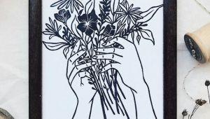Drawing Hands Holding Flowers Tattoo Style Hand Holding Flowers Linocut Block Print Art Print