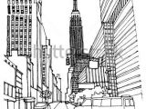 Drawing Hands Perspective Scene Street Illustration Hand Drawn Ink Line Sketch New York City