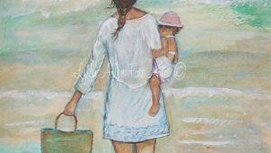 Drawing Heart On Beach Beach Children Art Print Mother Children Sister Beach Sea Oats Ocean