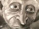 Drawing Ideas Harry Potter Dobby From Harry Potter Charcoal Portrait Harry Pottery In 2019