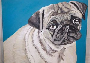 Drawing Of A Blue Dog Pug with Blue Background Pet Painting On by Emtyspetpaintings