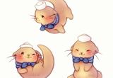 Drawing Of A Cartoon Otter Kawaii Sailor Otter Kawaii Cute Drawings Cute Cute Art