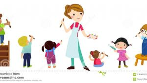 Drawing Of A Cartoon Teacher Children Drawing with Teacher Stock Illustration Illustration Of