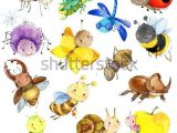 Drawing Of A Cartoon Worm Funny Insects Collection Watercolor Cartoon Insect Wasp Bee